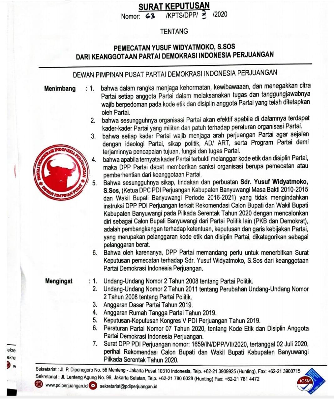 PDIP Resmi Pecat Kader Yusuf Widyatmoko Cabub Banyuwangi