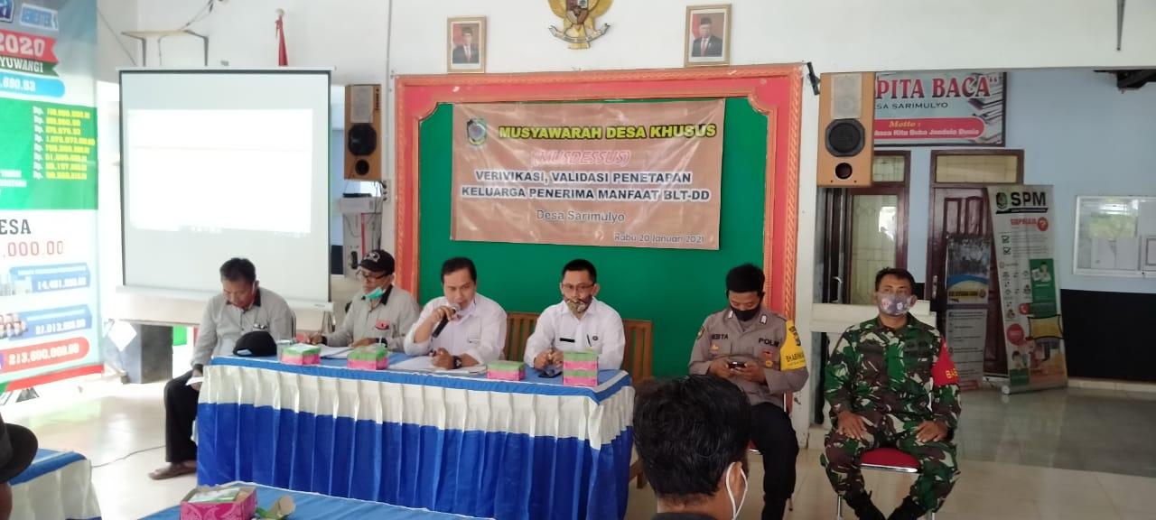 Musyawarah Musdessus Penetapan Bantuan BLT DD Desa Sarimulyo Kec. Cluring